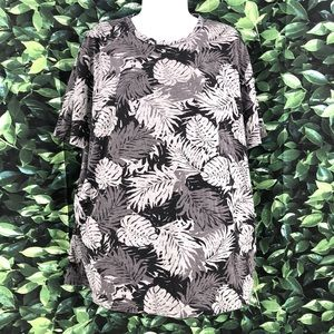 Vince Women's Size XL Gray Leaf Print Top